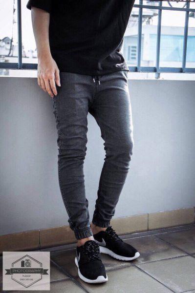 Quần jogger jean màu ghi xám hà nội