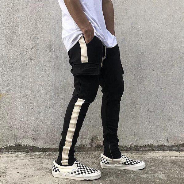 Quần track pants kaki đen 1 sọc trắng túi hộp hà nội