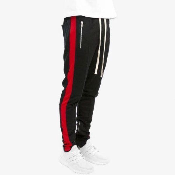 Quần track pants nỉ đen 1 sọc đỏ hà nội